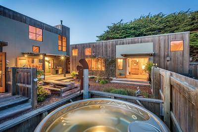 Hot Tub and Front Courtyard at Twilight