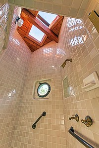 Master Bath Shower with Porthole Window
