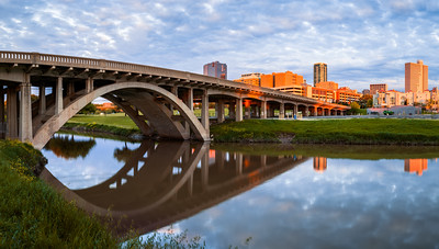 North Henderson Street Bridge, Clear Fork Trinity River, Fort Worth, Skyline, Sunset, Texas, America