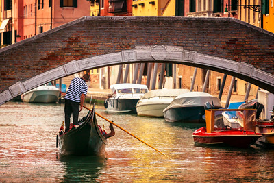 Gondola on the canal, Venice, Italy