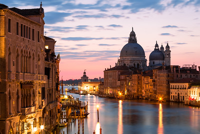 St Maria of Salute Basilica, The Grand Canal, Ponte dell'Accademia, Venice, Italy