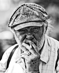 Prague, Czech Republic - This rugged rugged savoured every bit of his cigarette