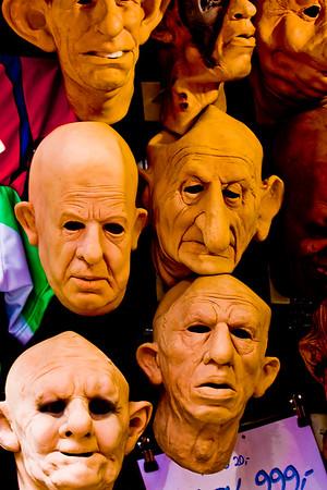Prague, Czech Republic - Mask hanging in a shop window