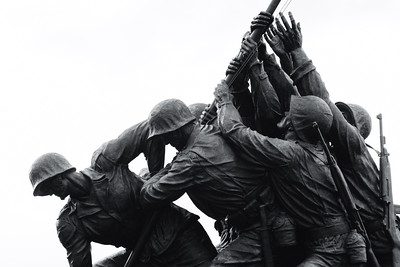 Black and White, US Marine Corps War Memorial, Arlington, Mason, Virginia, America
