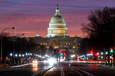 Dramatic Sunrise, Pennsylvania Avenue, Capitol Hill, Washington DC, America