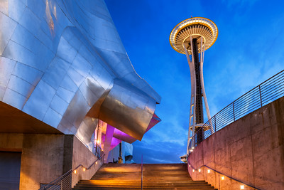 Space Needle and EMP Museum, Seattle, Washington, America