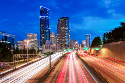 Blue Hour, Light Trails, Seattle, Washington, America
