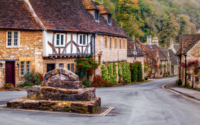 Roundabout at the Picturesque Village of Castle Combe, Wiltshire, England