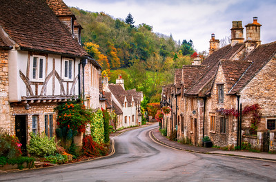 The Picturesque Village of Castle Combe in the Autumn, Wiltshire, England
