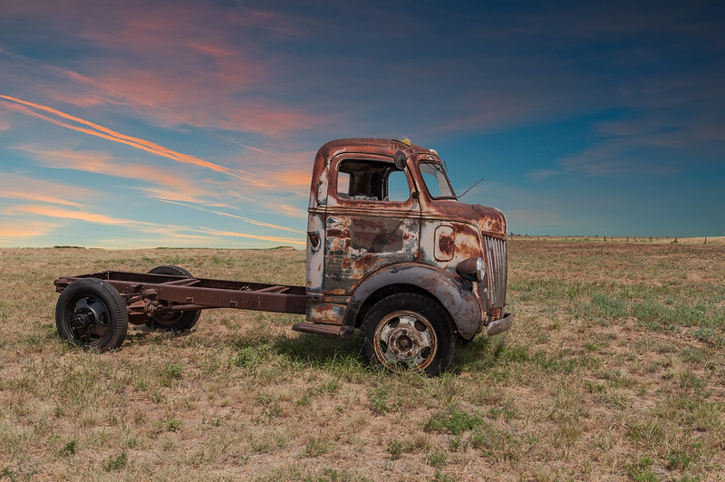 Old Trucks, south of Kress, 7-11-2012 (15 of 17) with sky and sunset