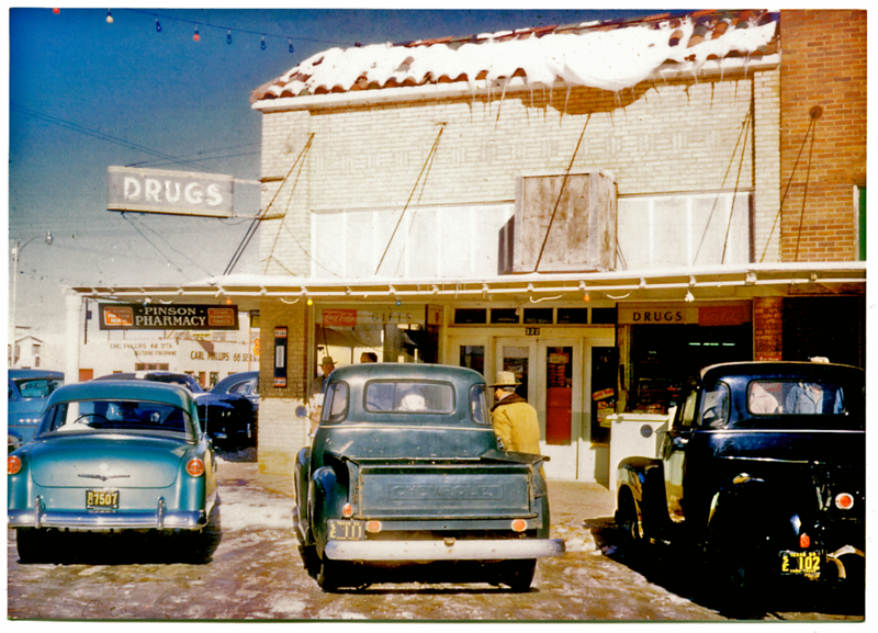 Downtown Abernathy mid 1950,s at Pinson Pharmacy