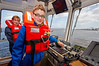 Shaun Sounding the Foghorn Aboard the Tug 'Anglegarth' to Celebrate the Launching of the Paper Boats - 31 August 2013