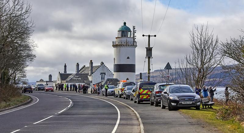 Crowd as HMS Queen Elizabeth (R08) passes the Cloch Lighthouse, Gourock - 20 March 2021