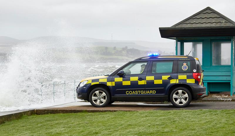 Coastguard during Storm Ciara in Gourock - 9 February 2020
