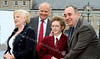 First Minister Alex Salmond and comedienne Dorothy Paul cut the first sod at the new Arts Guild Theatre - Greenock - in the background is Lord Lieutenant for Renfrewshire Guy Clark, and schoolboy Adam Beck
