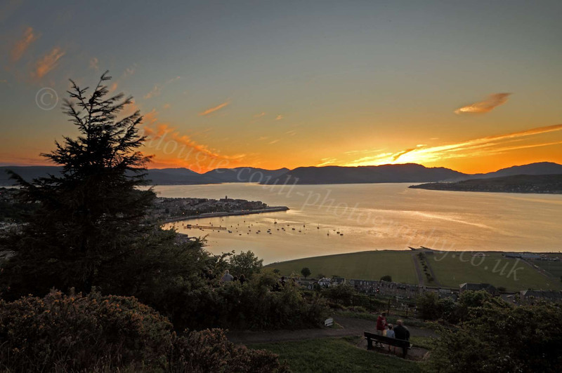 Sunset and Cardwell Bay - from Lyle Hill, Greenock - 4 June 2012