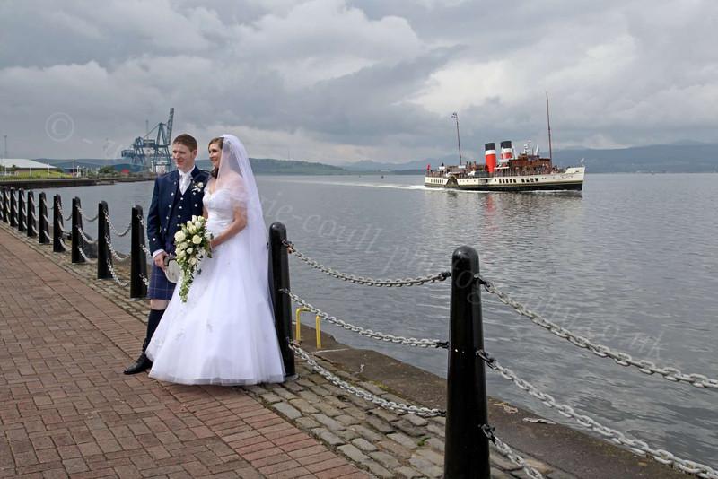 Wedding at Custom House Quay as PS Waverley Passes - 22 June 2012