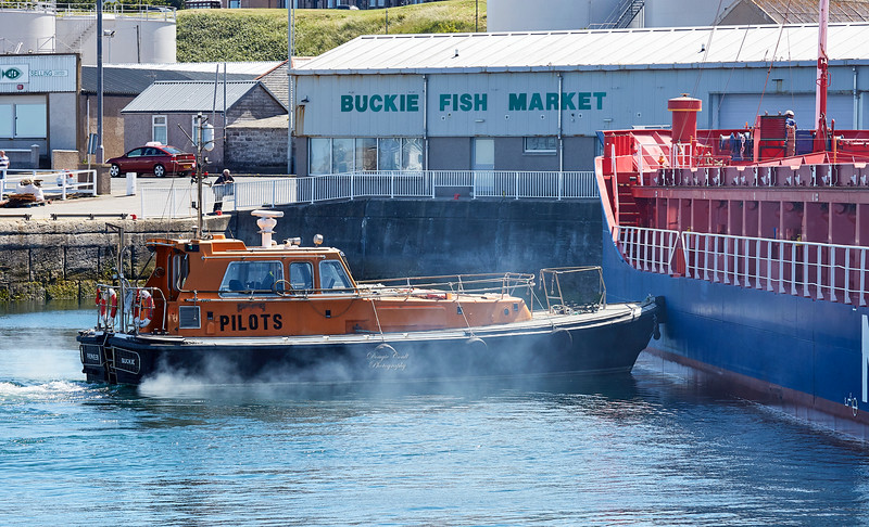 Frisian River berthing at Buckie Harbour - 1 July 2018