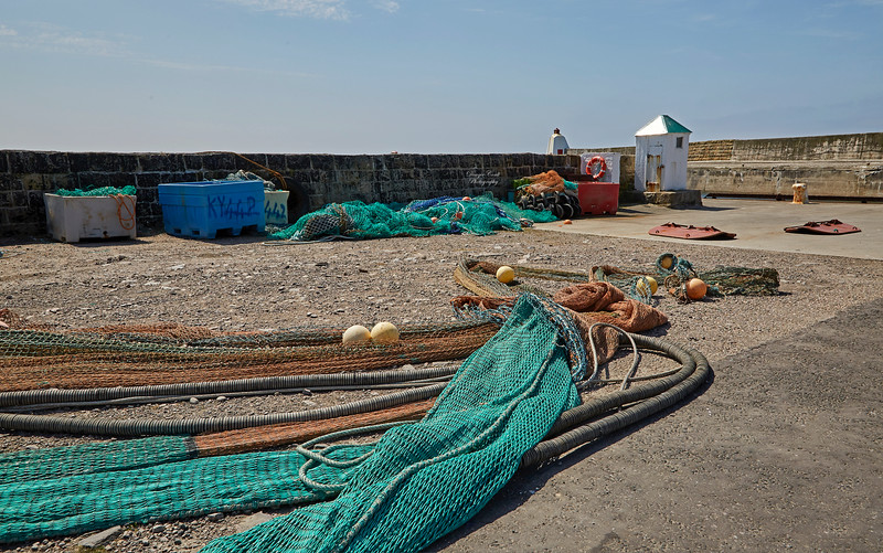 Nets on the Quayside at Burghead Harbour - 29 June 2018