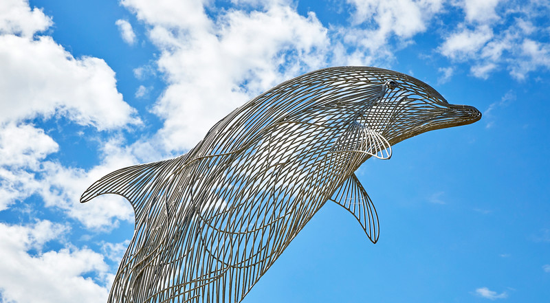 Dolphin Sculpture at Portsoy Harbour - 4 July 2018
