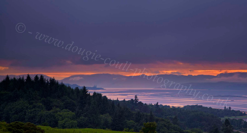 Cowal Hills Sunset from Langbank - 9 July 2012