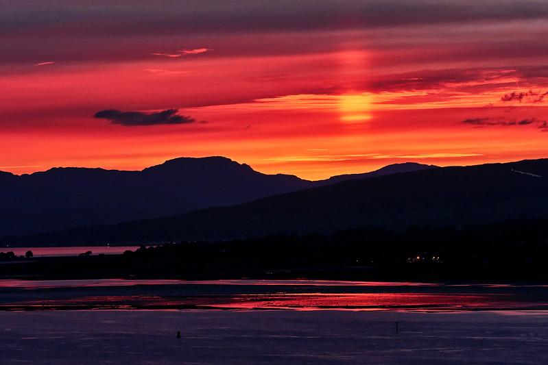 'Sun Pillar'  during the Sunset from Langbank - 28 May 2017