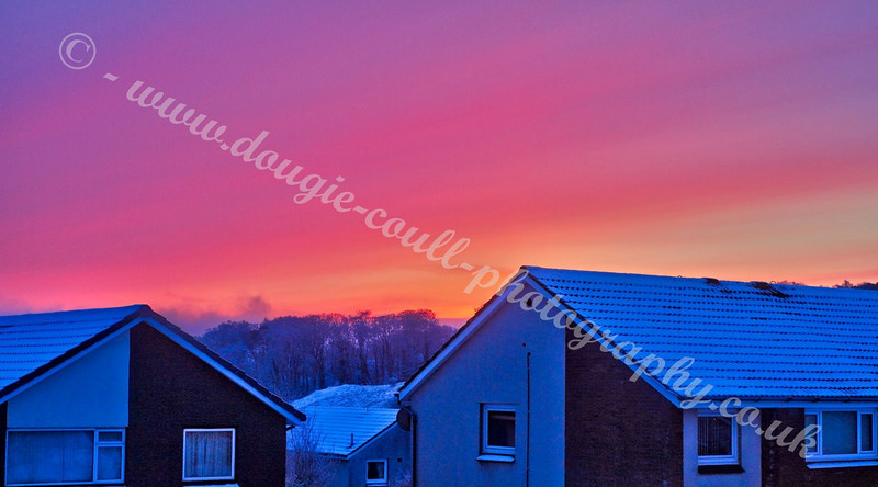 View from House Front at Winter Sunrise - Langbank