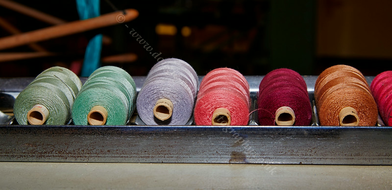 Coloured Threads at the Paisley Thread Mill Museum in Paisley - 5 July 2014