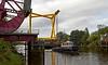 Barge Passes Under the Inchinnan Bascule Bridge - 31 August 2013