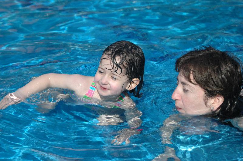 Sam practiced her swim moves