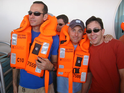 Lifeboat muster.  Ted with Jimmy and Jason