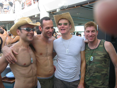 Almost a good picture of me and Ted with Steve and Tom