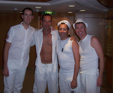 Jeff, Ted, Art, and Me before the white party