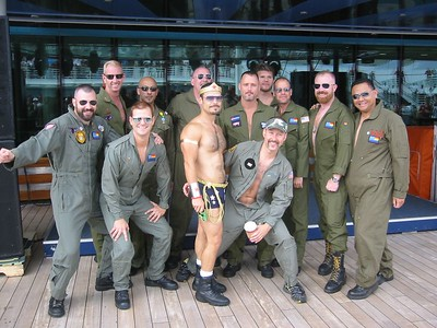 The flight suit boys with Wonder Woman.