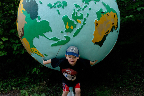 Holding the world on his shoulders