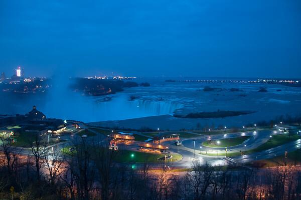 Niagara at night. Table rock and the Horseshoe Falls