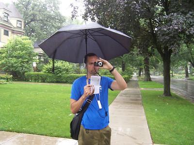 It was raining hard that day