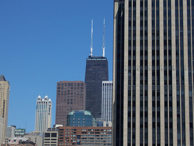 The John Hancock building, aka the Cheescake beacon.  There's a Cheesecake Factory in the basement