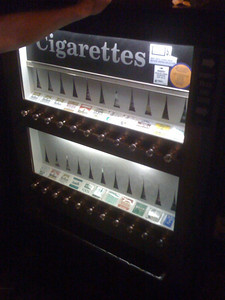 They still have cigarette machine.  How quaint