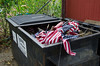 Greenwood Cemetery, not the proper way to dispose of flags placed on veterans graves from Labor Day.
