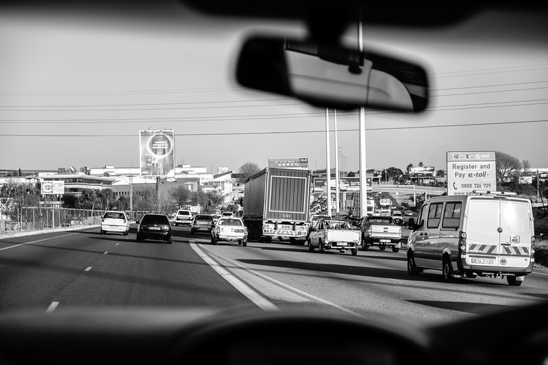 Morning traffic in Johannesburg - on route from the Airport
