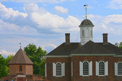 The Magazine on the left, Courthouse on the right, Colonial Williamsburg, Va http://www.history.org/