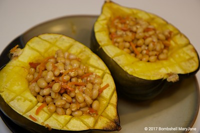 Vegan Acorn Squash Stuffed with White Beans