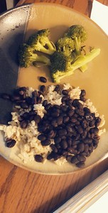 What I eat for lunch: brocolli, brown rice, black beans, and one tablespoon olive oil