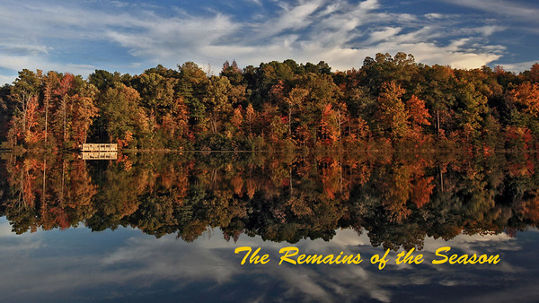 The Remains of the Season is a short film about the Fall and the best foliage colors I was able to capture during the tail end of the season; most of the footage was taken in Georgia during the last four weeks—spending this past week editing the three hours+ I captured, and making it all fit in only a few minutes; I may have enough material for a sequel depending on the box office response, :-) Hope you all enjoy it—I realize there are many videos out there describing the season, some beautifully done, but I hope you can appreciate some of the unique scenes I included and are able to perceive what was an attempt to leave a personal touch; please leave me your feedback if you like the video. Many thanks for watching and happy Holidays.