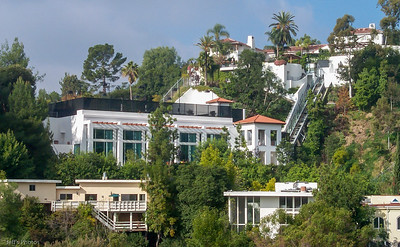 "Hillside living in the ""Crest"" Streets. Estate renovation and music studio. Los Angeles, California Rock Hudson's old abode is at the top right of the photo."