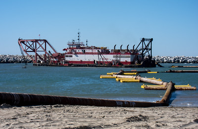 The H.R. Morris dredging the entrance to Ventura Harbor. February 13, 2015.