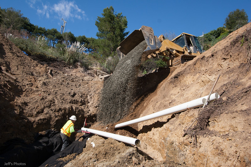 Subdrain under canyon fill<br /> 11414 Chalon Road<br /> Bel Air, California
