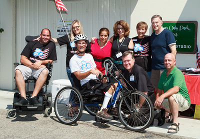 Jon Seyster (on bike) gathers with a few of his supporters during a fundraiser at My Health Studios, Westlake Village, on August 13, 2011.   Seyster plans to participate in the Ride 2 Recovery 9/11 Challenge. Marking the 10th anniversary of the  September 11, 2001 attacks, the challenge is an 8 day, 530 mile ride that will visit the World Trade Center, the United Flight 93 crash site, and the Pentagon.   Funds raised will be donated to Ride 2 Recovery, a program that funds mental and physical rehabilitation programs for wounded veterans.  You can support Jon's effort and follow his progress at his website: jonsfreedomride.com