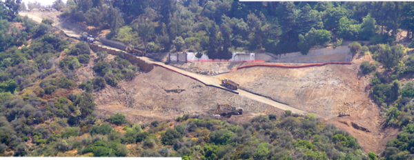Slope Stabilization, Residential Development, 2004-2005. Los Angeles, California. Retaining wall supported by approximately 80 ft. deep x 5 ft. dia. piles. Remove earth materials above ancient slide plane. Replace earth materials as compacted fill.